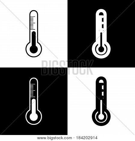 Meteo diagnostic technology thermometer sign. Vector. Black and white icons and line icon on chess board.