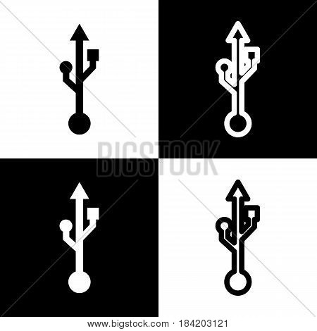 USB sign illustration. Vector. Black and white icons and line icon on chess board.