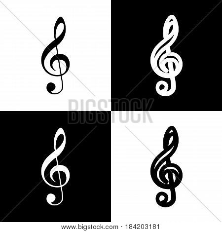 Music violin clef sign. G-clef. Treble clef. Vector. Black and white icons and line icon on chess board.