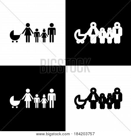 Family sign illustration. Vector. Black and white icons and line icon on chess board.