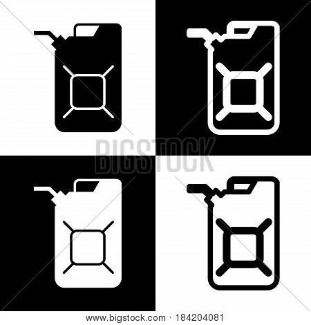 Jerrycan oil sign. Jerry can oil sign. Vector. Black and white icons and line icon on chess board.