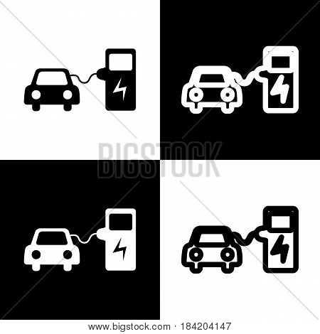 Electric car battery charging sign. Vector. Black and white icons and line icon on chess board.