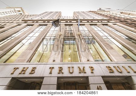 New York City USA - SEptember 26 2015: The Trump Building on Wall Street. In 1995 President Donald Trump bought the building that is now known as