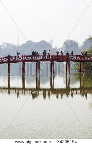Huc Bridge In Hanoi, Vietnam
