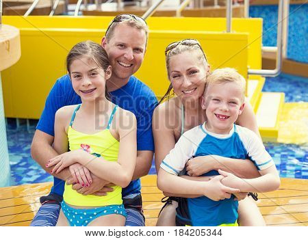 Cute young family on a cruise vacation together
