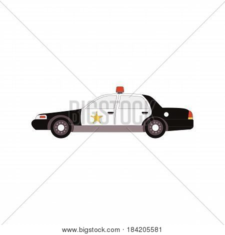 Police car icon side view in flat style for UI UX design. Vector illustration