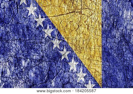 Grudge stone painted Bosnia and Herzegovina flag