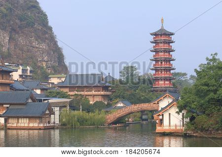 Folded Brocade Hill pagoda landcape Guilin China