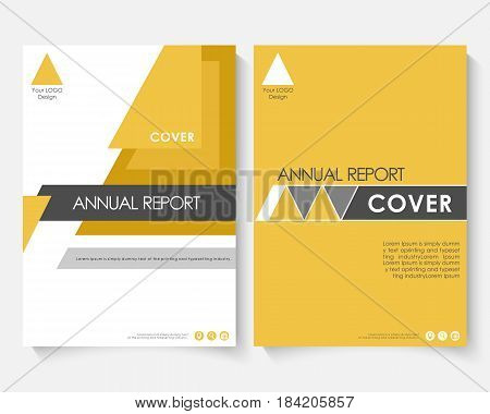 Yellow marketing cover design template for annual report. Modern minimalist business powerpoint concept booklet. Flyer, leaflet magazine brochure with text. Corporate layout page A4 Vector advertising illustration