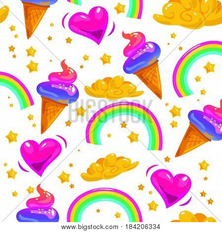 Vector flat seamless pattern with stars, rainbow, ice cream cone, magic cloud and heart isolated on white background. Cartoon style. Packaging paper design, children illustration.