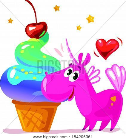 Vector flat illustration with funny cute little unicorn character and big tasty ice cream cone isolated on white background. Food children illustration, cartoon style. Packaging design.
