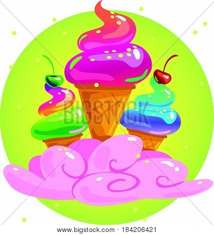 Vector flat tasty shiny ice cream illustration isolated on white background. Summer cartoon sweet candy illustration. Good for poster advertising party flayer design packaging paper pattern.