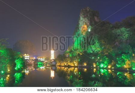 Folded Brocade Hill pagoda landcape in Guilin China