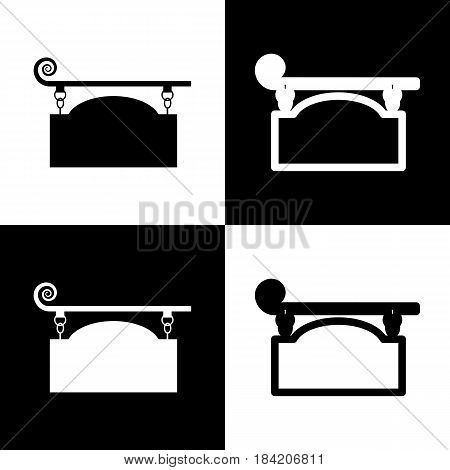 Wrought iron sign for old-fashioned design. Vector. Black and white icons and line icon on chess board.
