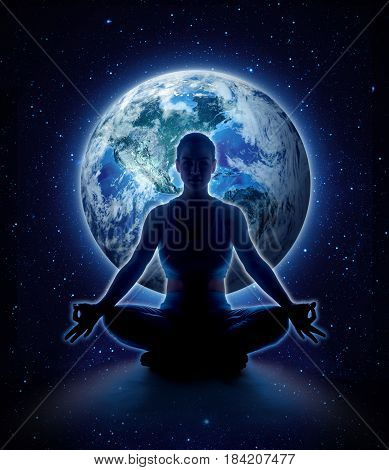 Yoga woman on the world. Meditation girl itting in lotus pose on planet earth and star in dark night sky Moon original image from NASA.gov