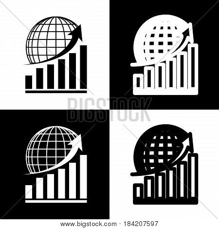 Growing graph with earth. Vector. Black and white icons and line icon on chess board.