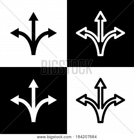 Three-way direction arrow sign. Vector. Black and white icons and line icon on chess board.