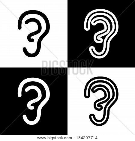 Human anatomy. Ear sign. Vector. Black and white icons and line icon on chess board.