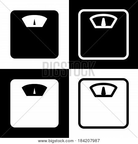 Bathroom scale sign. Vector. Black and white icons and line icon on chess board.