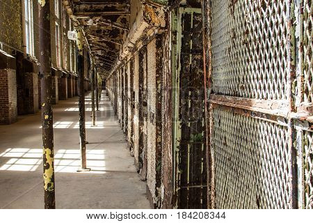 Mansfield, Ohio, USA - April 18, 2017: Cell block of the now abandoned Ohio State Reformatory in eastern Ohio is a popular tourist attraction.