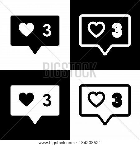 Like and comment sign. Vector. Black and white icons and line icon on chess board.