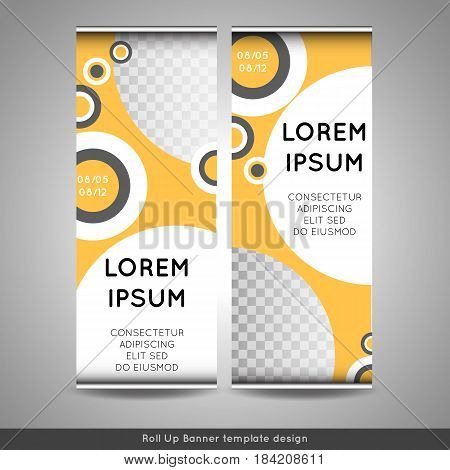 Blue circle roll up business brochure flyer banner design cover presentation abstract geometric background. Stock vector