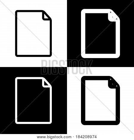 Vertical document sign illustration. Vector. Black and white icons and line icon on chess board.
