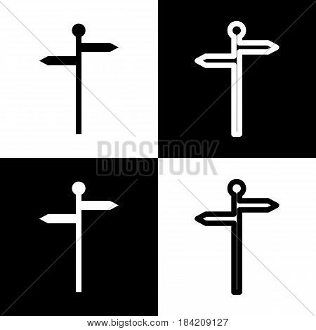 Direction road sign. Vector. Black and white icons and line icon on chess board.