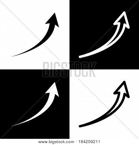 Growing arrow sign. Vector. Black and white icons and line icon on chess board.