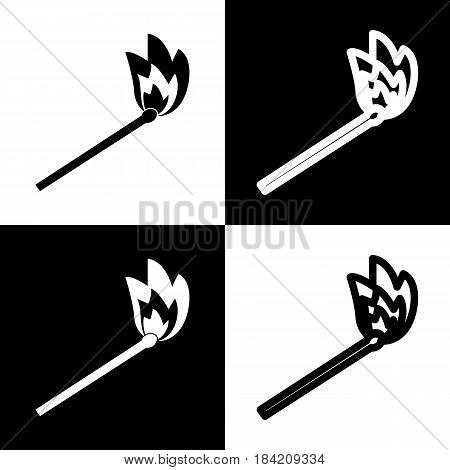 Match sign illustration. Vector. Black and white icons and line icon on chess board.