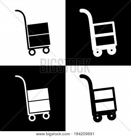 Hand truck sign. Vector. Black and white icons and line icon on chess board.