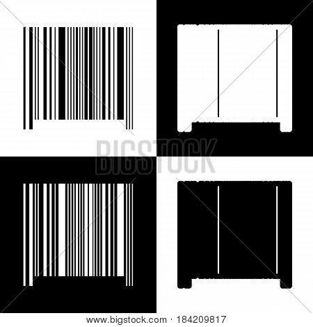 Bar code sign. Vector. Black and white icons and line icon on chess board.