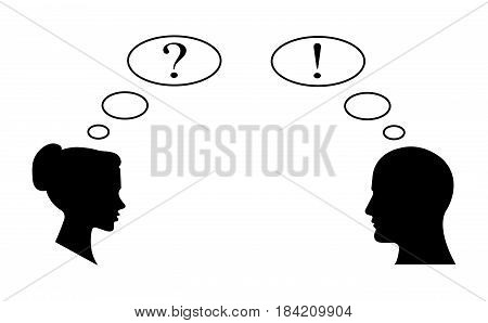 The exclamation mark and Question Mark business icon together female and male.