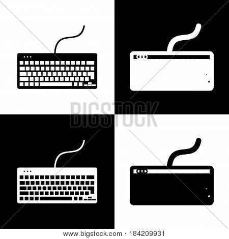 Keyboard simple sign. Vector. Black and white icons and line icon on chess board.