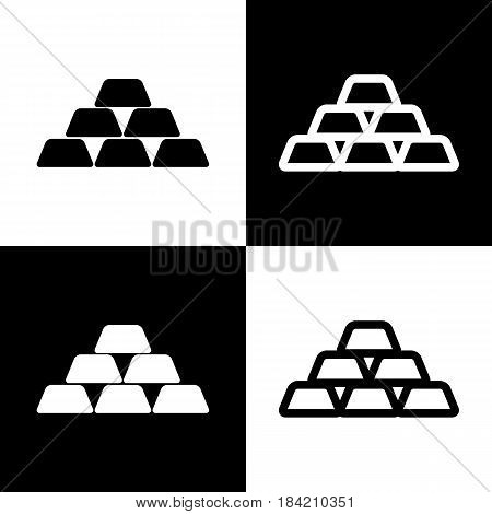 Gold simple sign. Vector. Black and white icons and line icon on chess board.