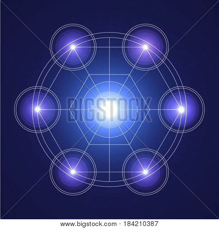 Sacral geometry illustration in a vector flat