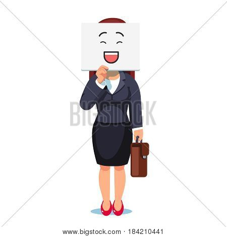 Business woman or executive manager standing holding card or paper sheet with smiling mask over her face. Duplicity and deceit. Flat style modern vector illustration isolated on white background.