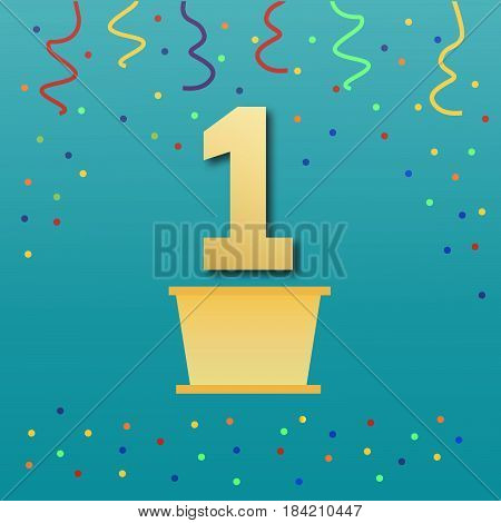 Sport podium in flat style.Winner, number one background confetti on pedestal.Poster or brochure template.Vector an illustration with figure one on a turquoise background