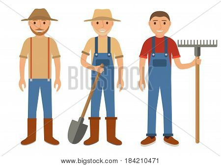 Set of farmers using agricultural tools.Set men Cartoon character the flat style.Farmer with shovel, rake..Vector illustration isolated on white background