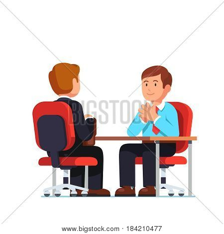 Employee and boss meeting sitting opposite at desk holding hands in raised steeple gesture. Job interview between CEO and candidate. Flat style modern vector illustration isolated on white background.