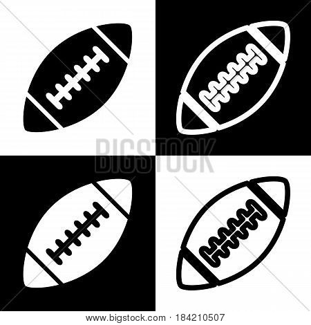 American simple football ball. Vector. Black and white icons and line icon on chess board.