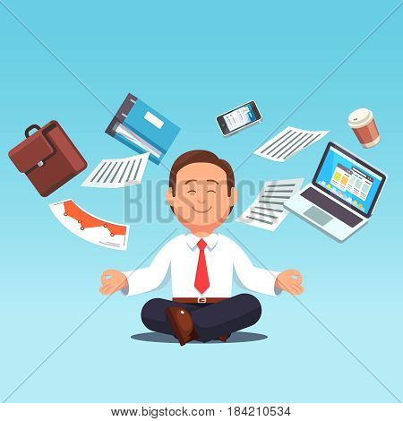 Business man sitting in lotus pose while files, suitcase, paper and computer laptop flying around. Office worker multitasking and meditating or doing yoga after stress. Flat style vector illustration.