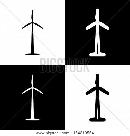 Wind turbine logo or sign. Vector. Black and white icons and line icon on chess board.