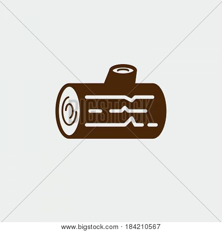 Wood Log icon isolated on white background .