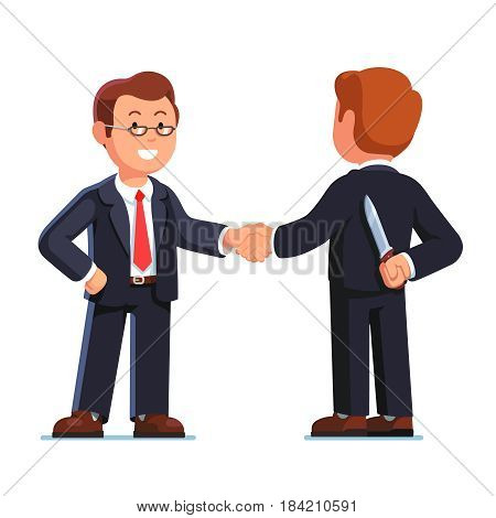 Two business man standing shaking hands. Businessman holding knife behind his back. Treacherous deal or betrayal metaphor. Hiding killer maniac concept. Flat style vector illustration.