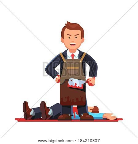 Gloating killer business man standing in necktie suit and craftsman working leather apron holding bloody butcher knife after killing his opponent or enemy. Flat style vector isolated illustration.