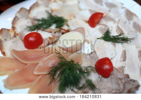Meat Cutting On Plate