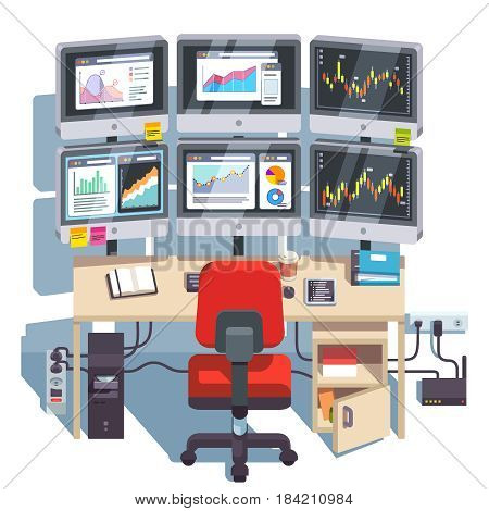 Stock market exchange trader desk with six displays for monitoring, forecasting financial indexes data online. Diagrams and trading candlestick charts analysis. Flat style modern vector illustration.