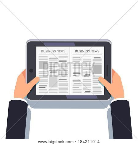 Tablet computer or eReader in businessman hands. Daily or weekly business news. Online media tabloid site concept. Flat style modern vector illustration isolated on white background.
