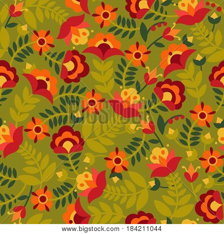 Seamless pattern with flowers in green, red, orange and yellow colors. Background with flat shapes. Texture in ethno style. Vector illustration.